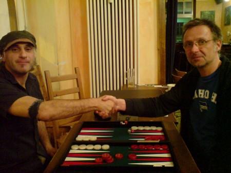 Vor dem Spiel um den 3. Platz: Edvard (li) gegen Michael Horchler