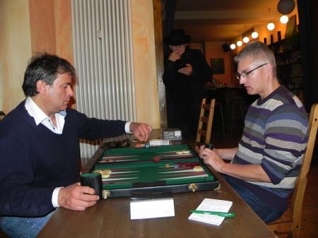 Im Duell um den dritten Platz: Andreas Kohlschmidt (li) gegen Matthias Strumpf