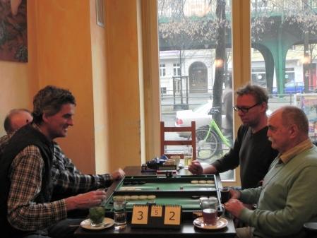 Stefan Blancke (li) und Igor K gegen Carlo Petkovsek (vorn) und Thorsten Miesel im Beratungsdoppel