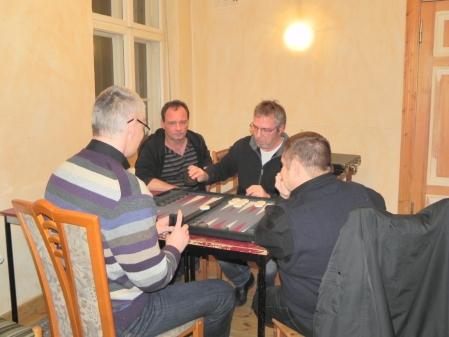 Halbfinale der Doppelmeisterschaft: Matthias Strumpf (li) und Frank Maschkiwitz (beide von hinten) gegen Helmut Krausser (li) und Ralf Sudbrak