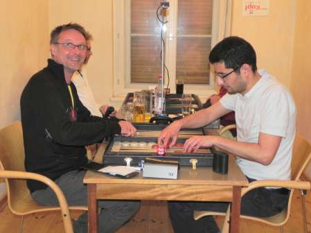 Finale des Speedgamonturniers: Michael Horchler (li) und Ufuk Doğanay