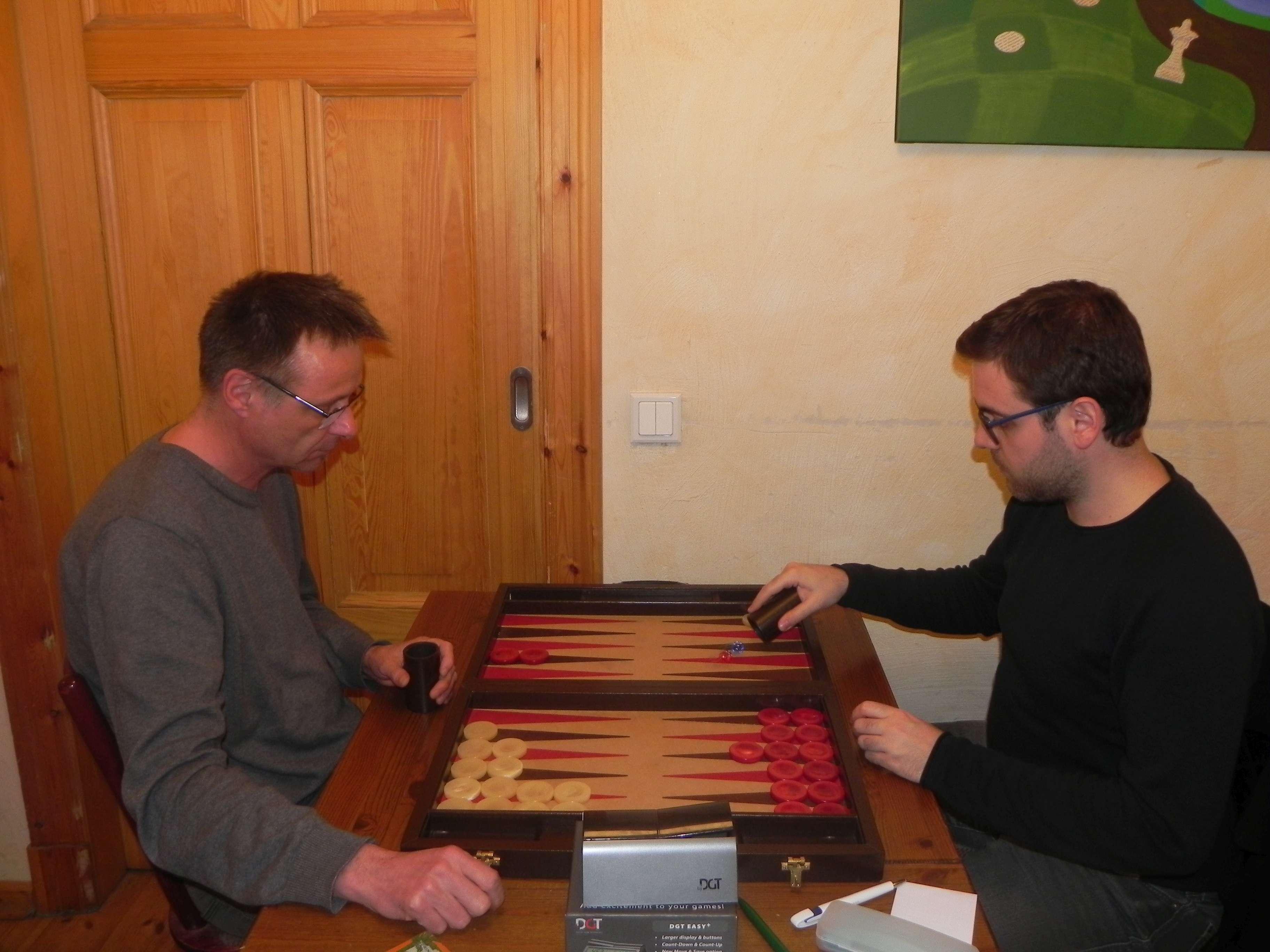 Speedgammon-Finale: Michael Horchler (li) und Faruk Kocaer